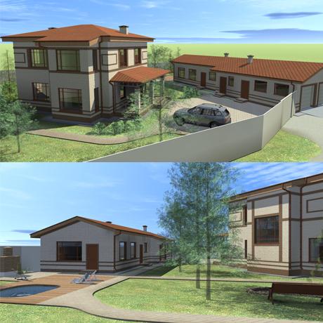 частный жилой дом, надворные постройки, гараж, баня